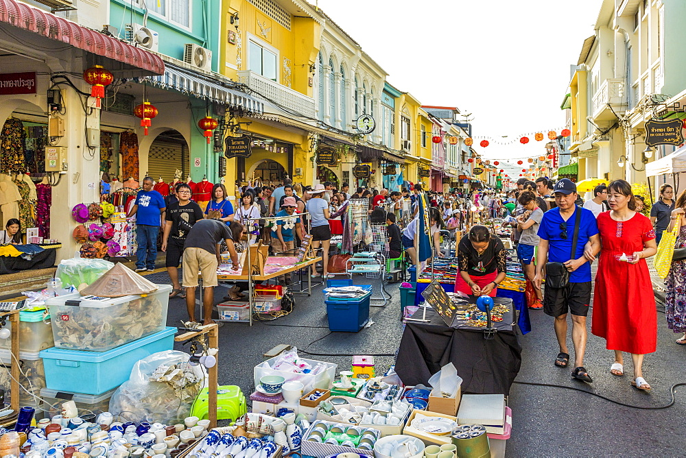 The famous Walking Street night market in Phuket old Town, Phuket, Thailand, Southeast Asia, Asia