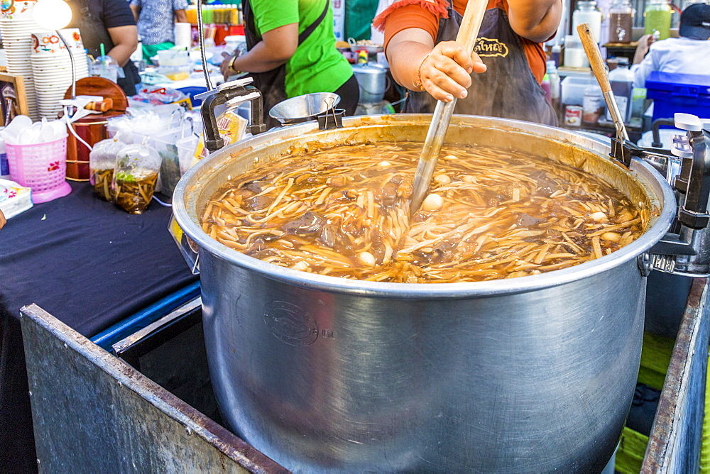 A noodle stall at the famous Walking Street night market in Phuket old Town, Phuket, Thailand, Southeast Asia, Asia