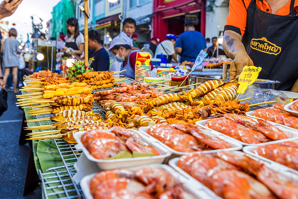 A barbecue seafood stall at the famous Walking Street night market in Phuket old Town, Phuket, Thailand, Southeast Asia, Asia
