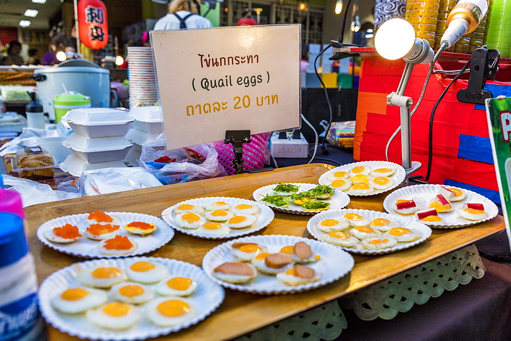 Quails eggs for sale at the famous Walking Street night market in Phuket old Town, Phuket, Thailand, Southeast Asia, Asia. - 1297-591