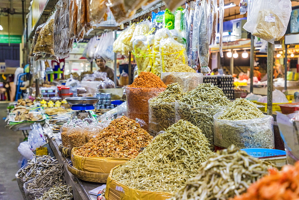 Spices for sale at the indoor market in Phuket old town, Phuket, Thailand, Southeast Asia, Asia.