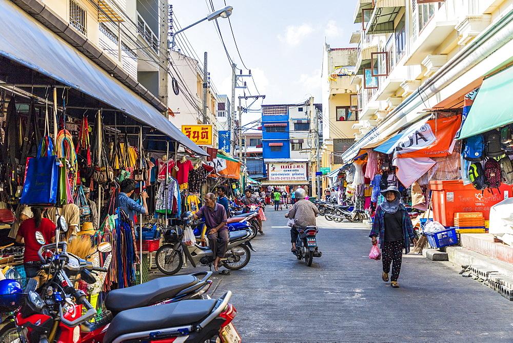 A street market scene in Phuket old town, Phuket, Thailand, Southeast Asia, Asia