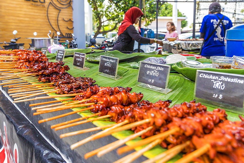 A barbecue meat stall at the Indy market in Phuket old town, Phuket, Thailand, Southeast Asia, Asia - 1297-601