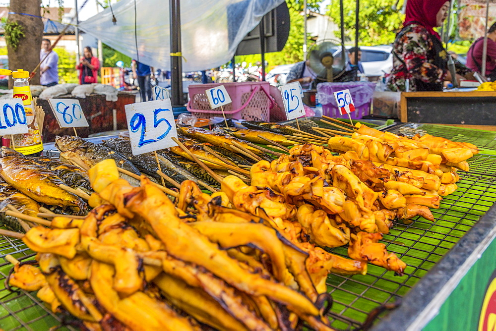 A barbecue seafood stall at the Indy market in Phuket old town, Phuket, Thailand, Southeast Asia, Asia - 1297-603