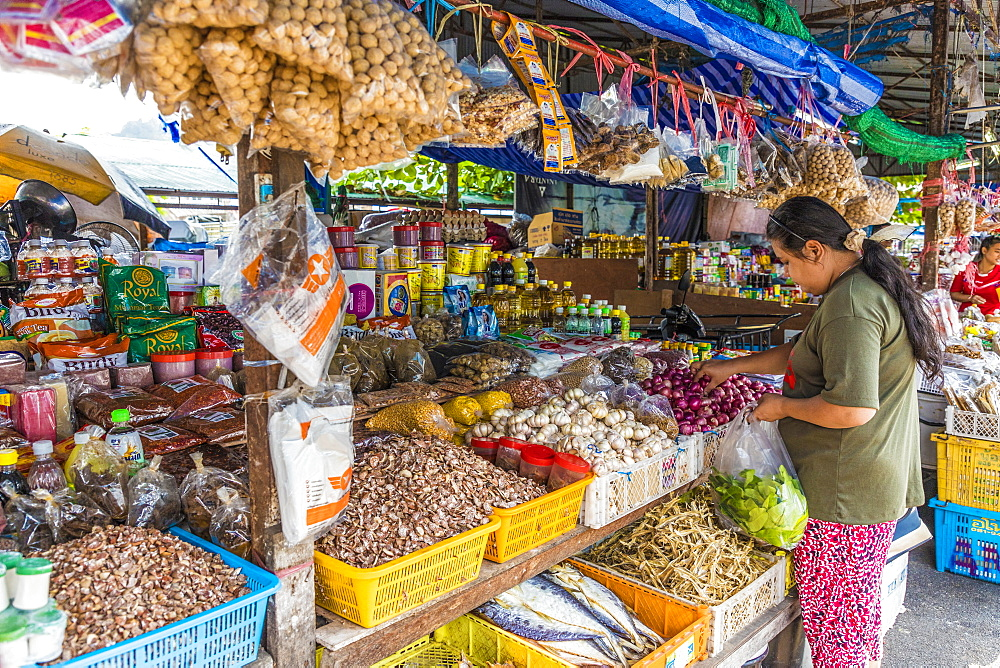 A colourful stall at the 24 hour local fresh food market in Phuket Town, Phuket, Thailand, Southeast Asia, Asia