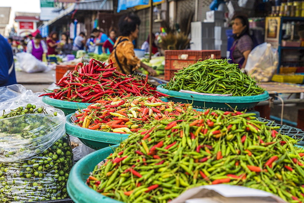 A stall selling chillis at the 24 hour local fresh food market in Phuket Town, Phuket, Thailand, Southeast Asia, Asia.