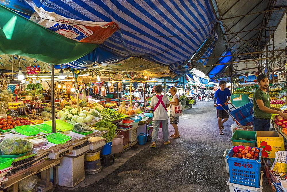 Market stalls at the 24 hour local market in Phuket Town, Phuket, Thailand, Southeast Asia, Asia.