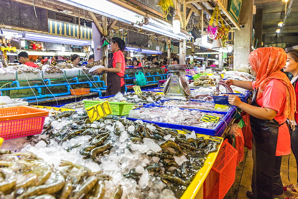 Fresh seafood for sale at the indoor Banzaan food market in Patong, Phuket, Thailand, Southeast Asia, Asia.