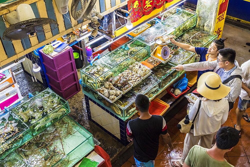 An aerial view of a live fish stall at the indoor Banzaan food market in Patong, Phuket, Thailand, Southeast Asia, Asia.