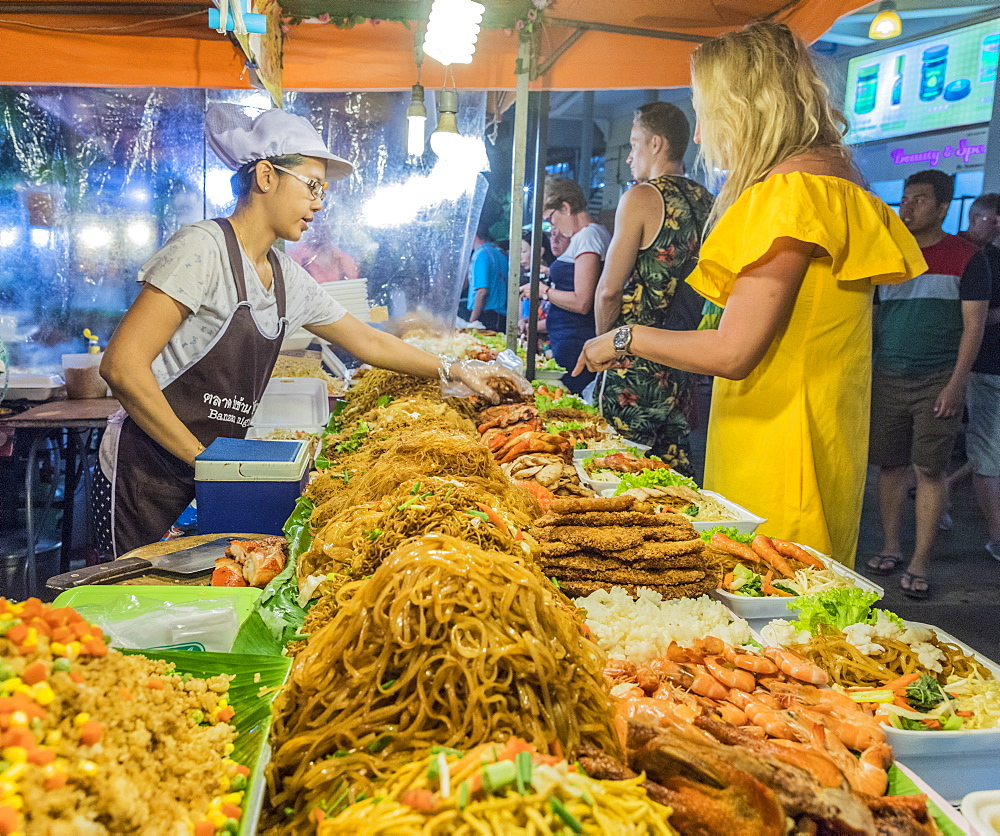 A noodle stall at the Banzaan night market in Patong, Phuket, Thailand, Southeast Asia, Asia