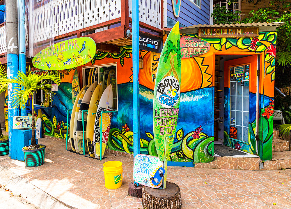 A colourful local surf school and rental shop in Bocas Town, Colon Island, Bocas del Toro Islands, Panama.