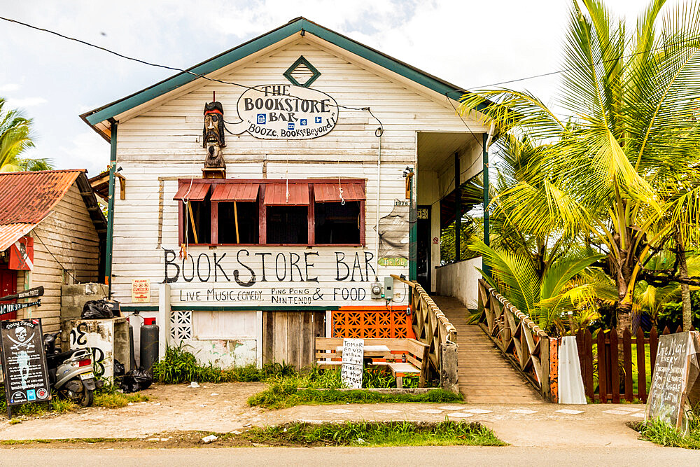 The bookstore bar in Bocas Town, Colon Island, Bocas del Toro Islands, Panama.