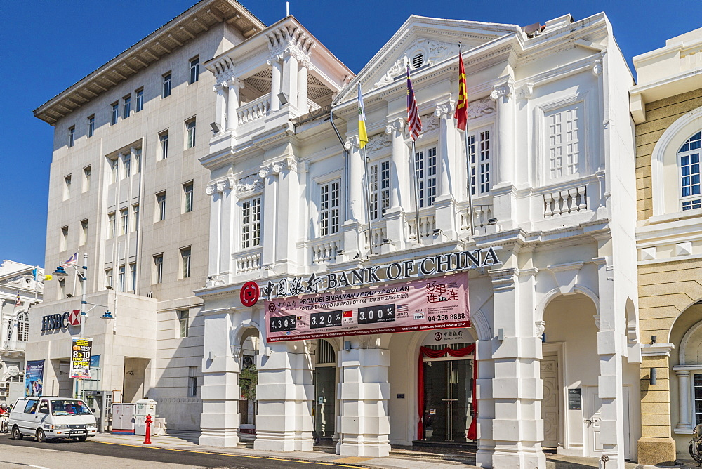 The Bank of China heritage building, George Town, Penang Island, Malaysia, Southeast Asia, Asia