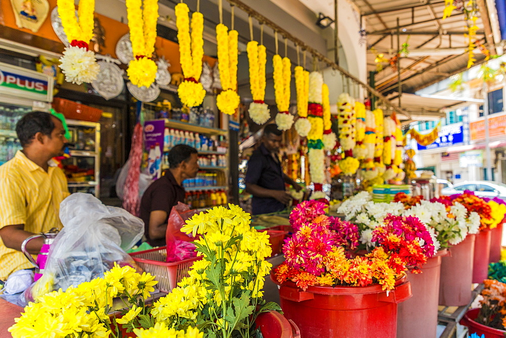 A colourful garland and flower stall in Little India, George Town, Penang Island, Malaysia, Southeast Asia, Asia