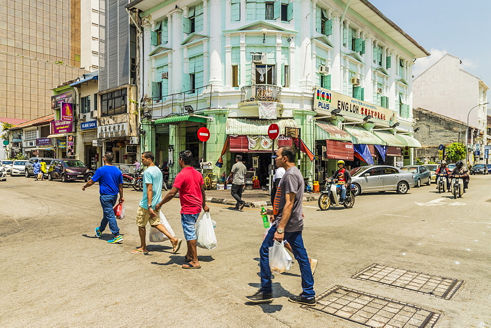 A street scene in Little India, George Town, Penang Island, Malaysia, Southeast Asia, Asia