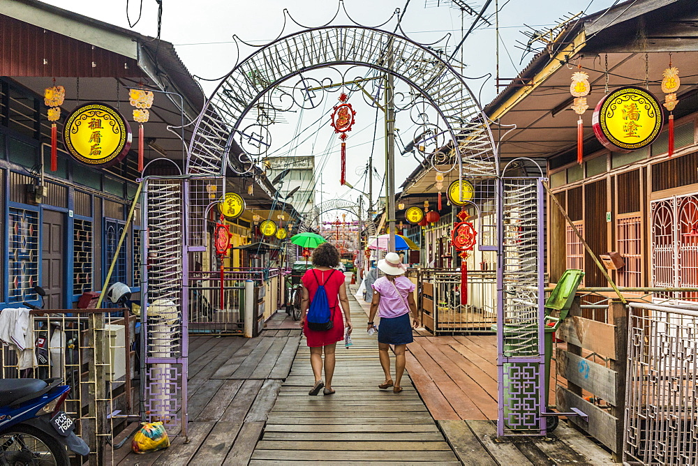 A view of the Lee clan Jetty, one of the clan jetties, in George Town, Penang Island, Malaysia, Southeast Asia, Asia - 1297-764