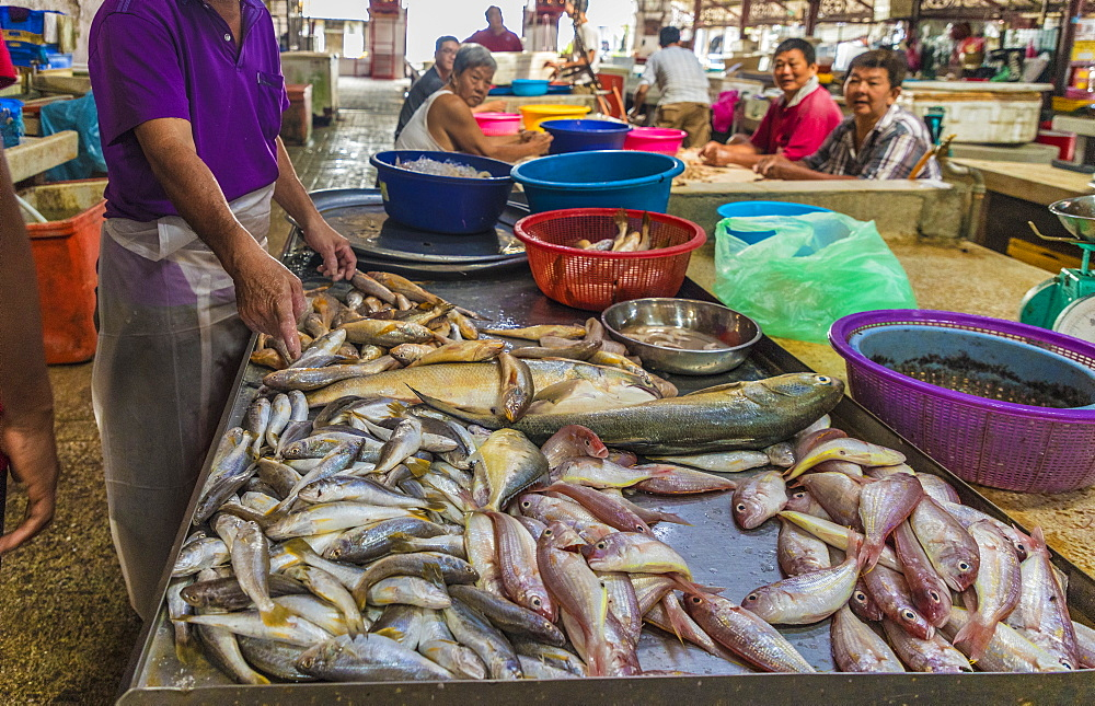 Fish stall in Campbell Street Market within George Town, UNESCO World Heritage Site, Penang, Malaysia, Southeast Asia, Asia