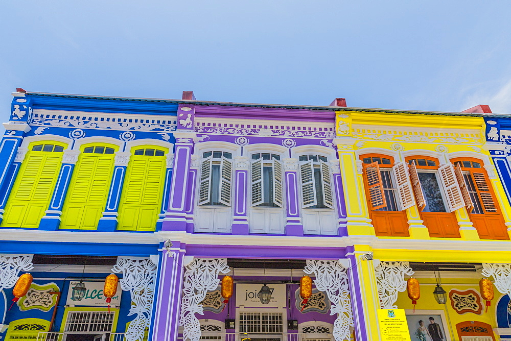 The colourful shop house architecture of Kek Chuan Jalan Road in George Town, Penang Island, Malaysia, Southeast Asia, Asia