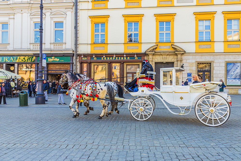 Horse drawn carriage in the main square, Rynek Główny, in the medieval old town, UNESCO World site, in Krakow, Poland, Europe.
