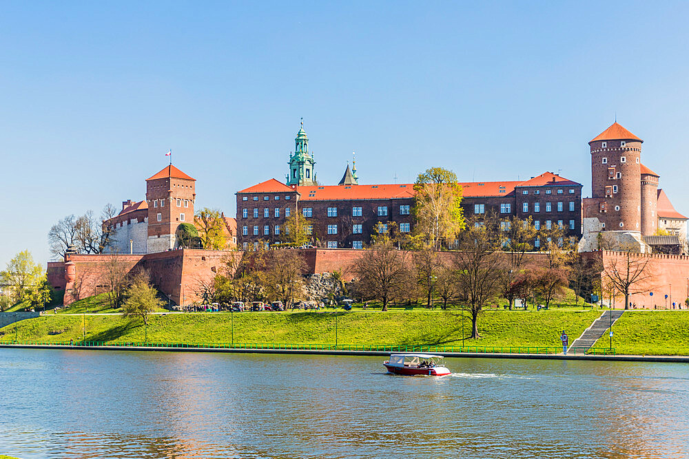 View of Wawel Royal Castle and the Vistula River in Krakow, Poland, Europe.