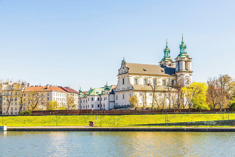 View of the Church of St Michael the Archangel, Skalka Church and the Vistula River in Krakow, Poland, Europe. - 1297-857
