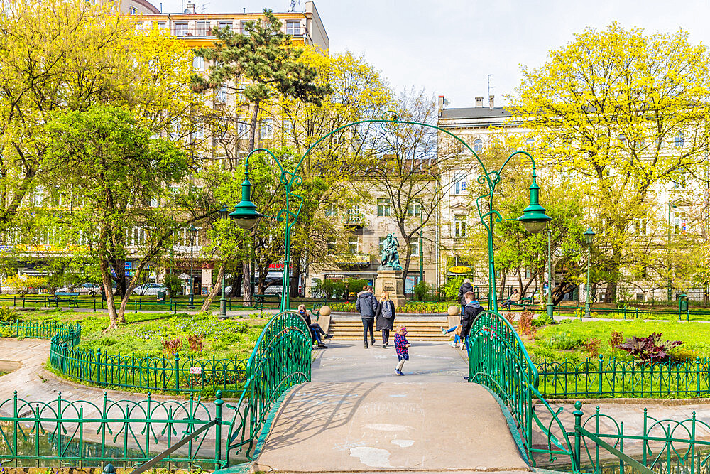 Planty park in the medieval old town, a UNESCO World Heritage site, in Krakow, Poland, Europe. - 1297-875