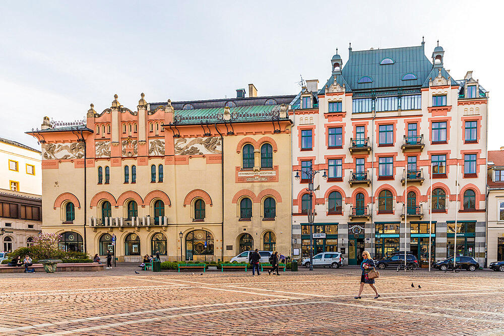 Plac Szczepanski Square in the medieval old town, a UNESCO World Heritage site in Krakow Poland, Europe.