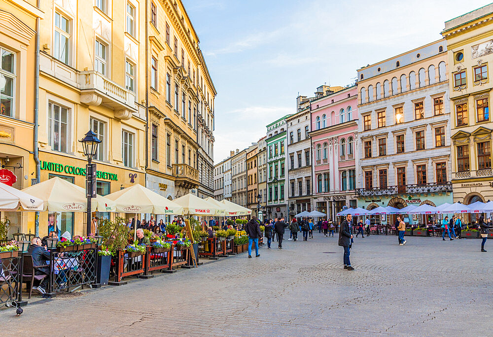 The main square, Rynek Glowny, in the medieval old town, a UNESCO World Heritage site, in Krakow, Poland, Europe.
