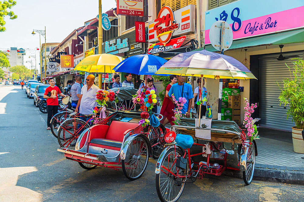 Tuk Tuks in George Town, a UNESCO World Heritage site, Penang Island, Malaysia, Southeast Asia, Asia.