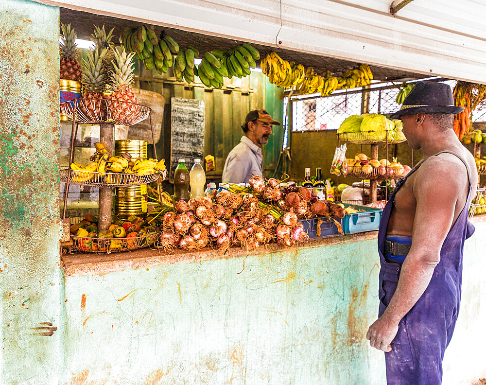 A local market selling fruit in Havana, Cuba, West Indies, Caribbean.