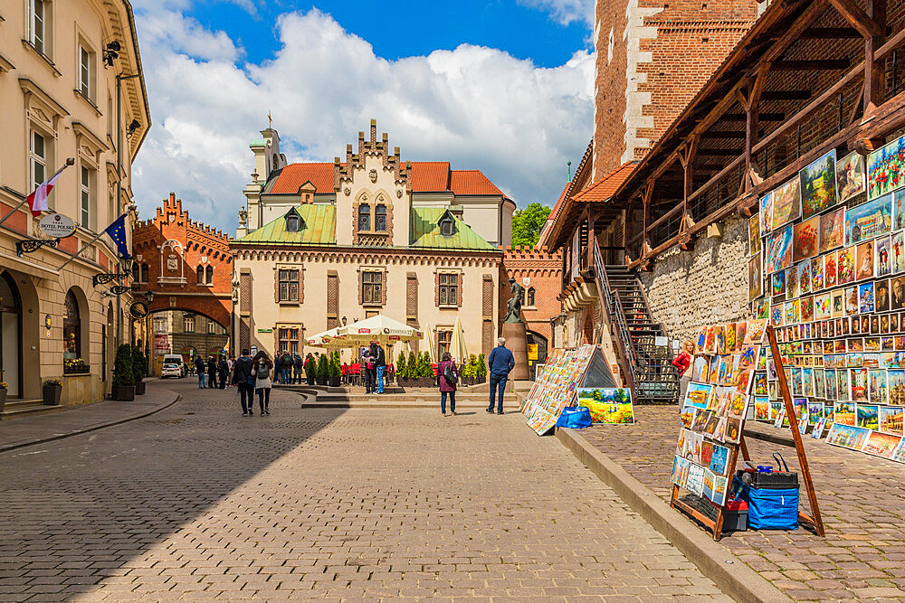 A colourful outdoor gallery in the medieval old town, a UNESCO World Heritage site in Krakow, Poland, Europe. - 1297-933