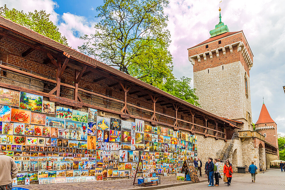A colourful outdoor gallery in the medieval old town, a UNESCO World Heritage site in Krakow, Poland, Europe.