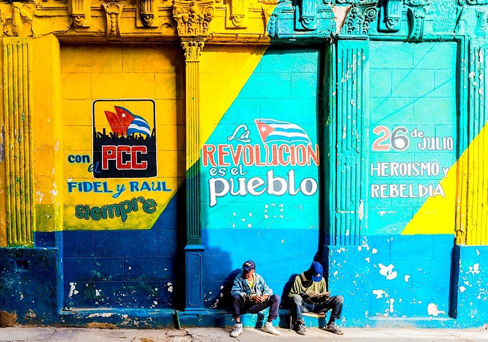 A colourful mural in Havana, Cuba, West Indies, Caribbean.