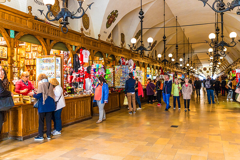 The market hall in Cloth Hall in the medieval old town, a UNESCO World site, in Krakow, Poland, Europe - 1297-945