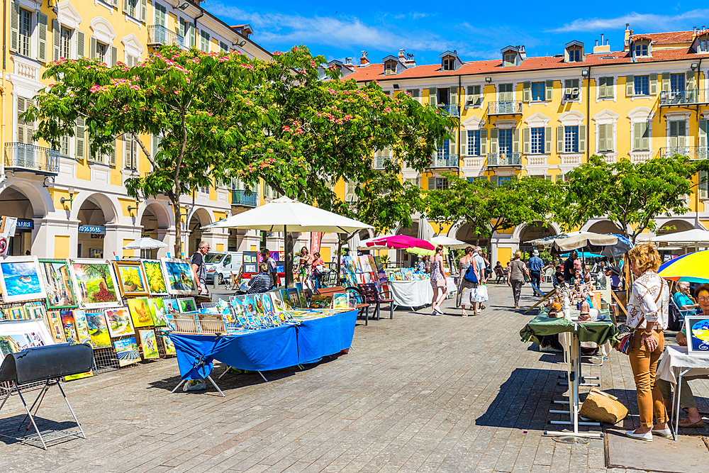 A market stall in Place Garibaldi in Nice, Alpes Maritimes, Cote d'Azur, Provence, France, Europe
