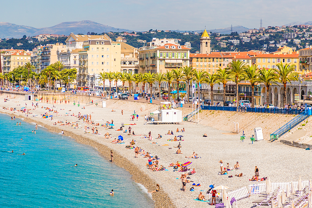 The beach on Promenade des Anglais in Nice, Alpes Maritimes, Cote d'Azur, Provence, France, Europe