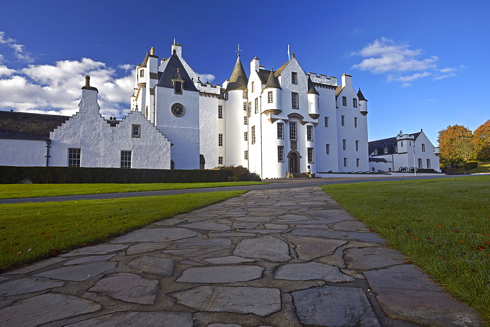Blair Castle which is the ancestral home of Clan Murray, Blair Atholl, Perthshire, Scotland, United Kingdom, Europe.