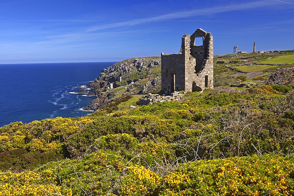 Wheal Owles tin mining engine house near Botallack, Cornwall, England, United Kingdom, Europe.