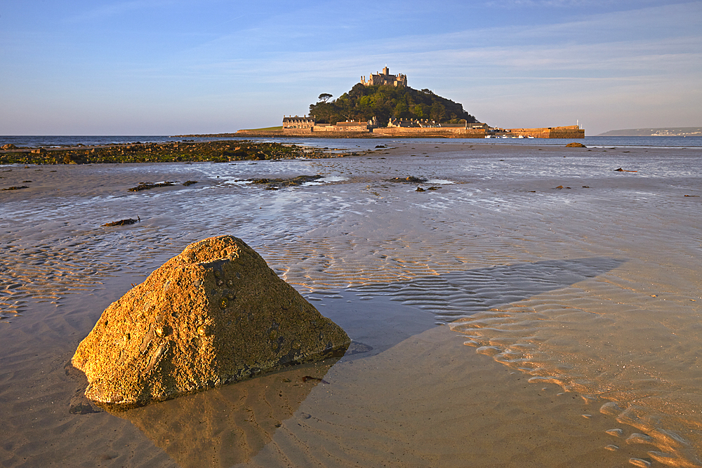Early morning light over St Michael's Mount, Marazion, Cornwall, England, United Kingdom, Europe.