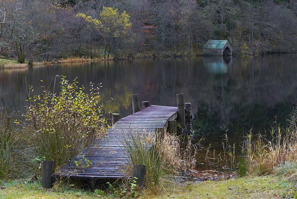 Jetty and boathouse at Milton Basin, Loch Ard, Trossachs, Stirlingshire, Scotland, United Kingdom, Europe