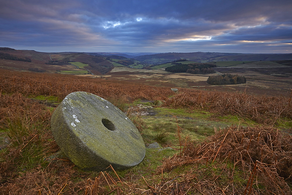 Abandoned millstone below Stanage Edge, Peak District National Park, Derbyshire, England, United Kingdom, Europe