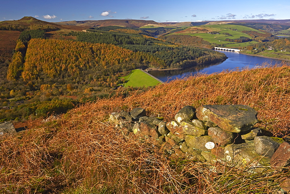 Ladybower Reservoir and Derwent Valley in autumn seen from Bamford Edge, Peak District National Park, Derbyshire, England, United Kingdom, Europe
