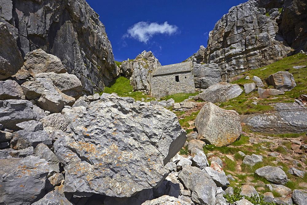St Govan's chapel built in to the cliffs near St Govan's Head, Pembrokeshire, Wales, U.K.