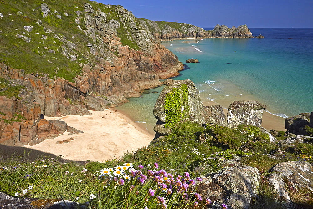 Pednvounder Beach and Treen Cliffs at Porthcurno, Cornwall, England, United Kingdom, Europe - 1298-61