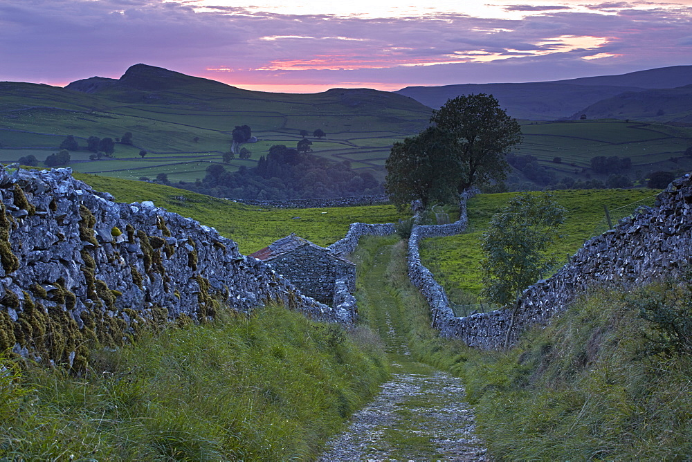 Sunset over Goat Scar Lane, Stainforth, North Yorkshire, England, United Kingdom, Europe