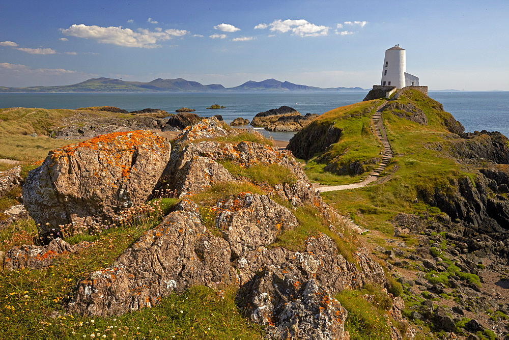 Twr Mawr Lighthouse on Llanddwyn island, Anglesey, North Wales, United Kingdom, Europe