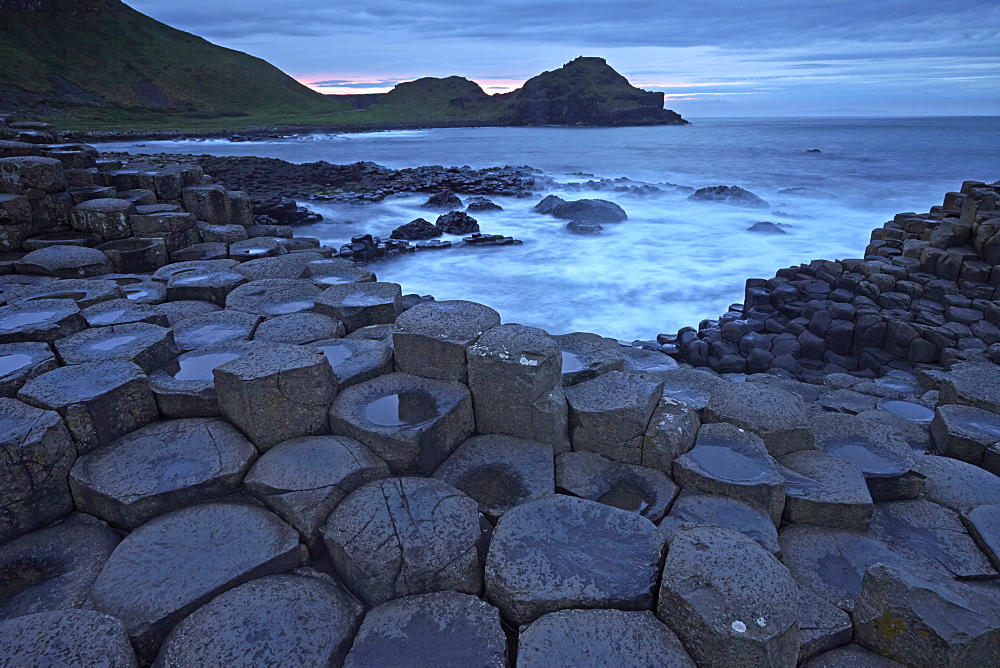 Dusk over the Giant's Causeway, UNESCO World Heritage Site, County Antrim, Northern Ireland, United Kingdom, Europe