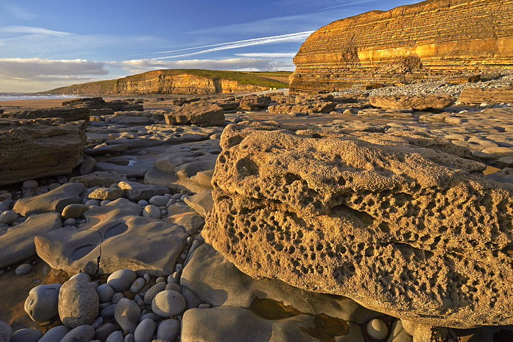 The varied geology of rocks at Dunraven Bay, Southerndown, Glamorgan, Wales, United Kingdom, Europe