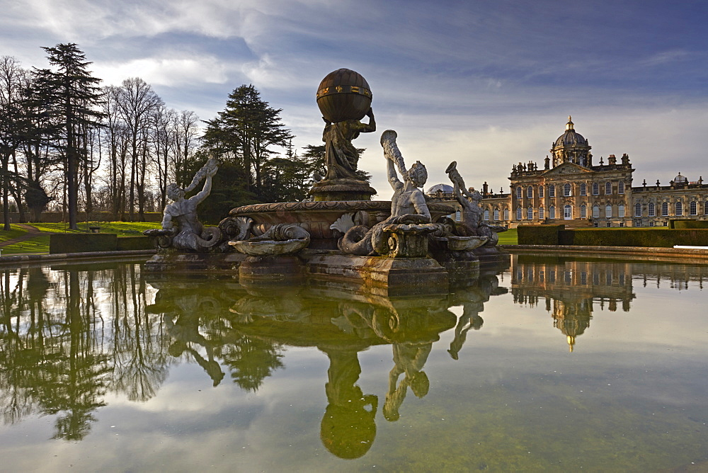 The Atlas Fountain and Castle Howard, North Yorkshire, England, United Kingdom, Europe.
