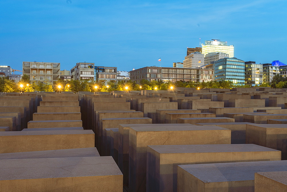 Jewish Memorial with the Postdamer Platz building seen in the background, Berlin, Germany, Europe - 1300-28